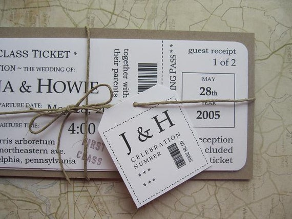 Wedding Invitation Tickets: Items Similar To Boarding Pass Wedding Invitation Package