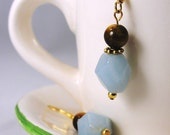 Amazonite and Tigereye Earrings with gold teal and brown