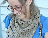 Crochet Triangle Scarf in Brown - Boho Gypsy Style Scarf/Wrap with Wooden Beads