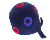 Vintage Cloche Hat. Navy Blue and Red Polka Dot. Gibbe Hat, Paris, New York. Classic Sleek and Chic. Sixties does Twenties.