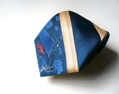Vintage Red Fox Neck Tie - Deep Midnight Navy Blue and Beige Striped Beau Brummell Neckwear