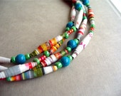 Handmade Paper Bead Necklace: New Box of Crayons.