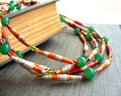Reserved -- Handmade Paper Bead Necklace. Fresh Citrus. Extra Long Rope Style.