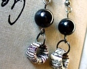 Handmade Paper Bead Earrings - Urban Gray Dangles - Upcycled/Recycled Ephemera