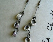 Handmade Paper Beads Earrings - Urban Circles - Dangly Grey Minimalism Upcycled/Recycled Ephemera