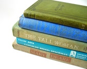 Vintage Books, Five Hardback Set - Spring Blues and Greens for Home Library Interior Design