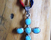 Color block turquoise cross necklace