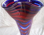 ON SALE // Tall hand-blown art glass wavy-lipped vase with clear foot by Elusive Muse Glass