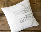RESERVED -- SUMMER SALE Vintage Grain Sack Pillow, The Guarantee of Quality