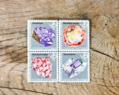 36 Rocks and Minerals Postage Stamp Blocks, Set of 9 Blocks, 1974 US Postage Stamps Mineral Heritage, 10-Cent Stamps