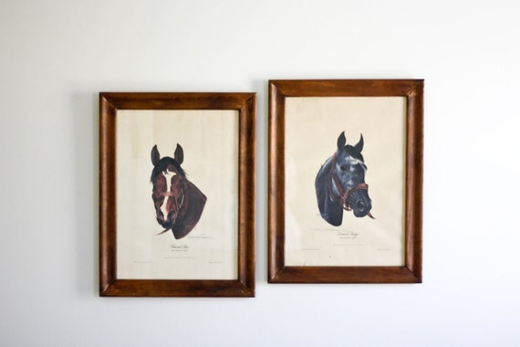 Vintage Kentucky Derby Horse Prints. Dancer's Image and Forward Pass.