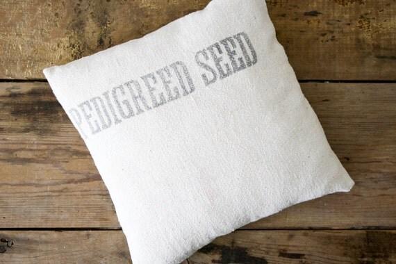 SUMMER SALE Vintage Grain Sack Pillow, Pedigreed Seed