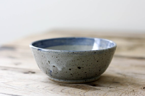 Small Pottery Bowl, Gray with Blue Stripe