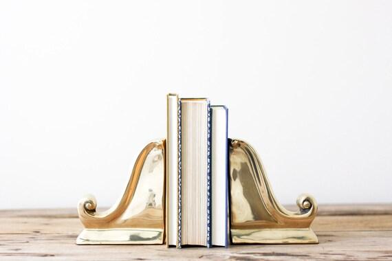 Brass Scroll Bookends