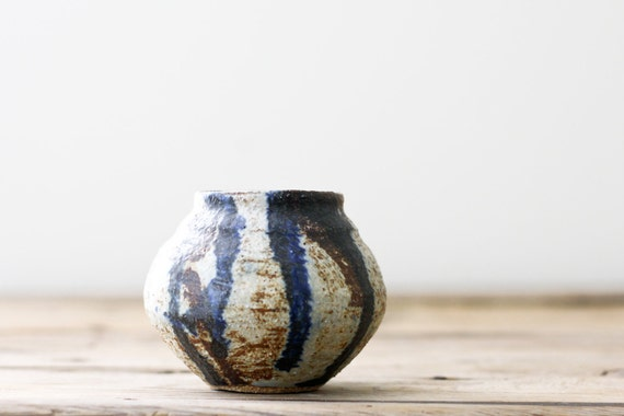 Small Vintage Pottery Vase, Gray with Blue and Brown Abstract Design
