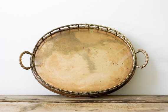 Large Brass Tray with Bamboo Motif
