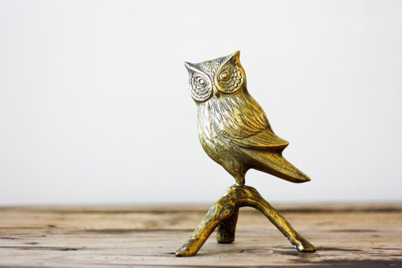 RESERVED for DAVID Vintage Brass Owl on a Branch