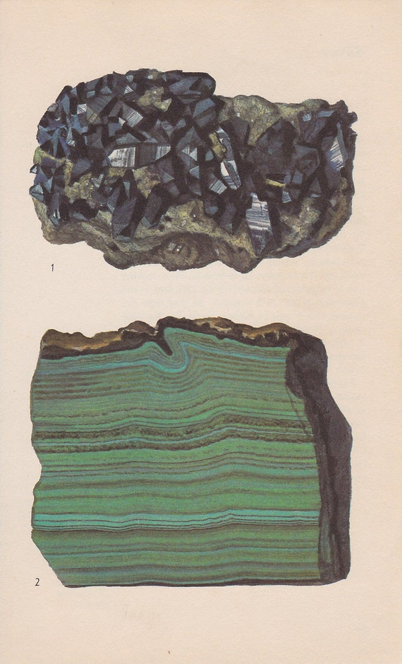Vintage Print Rocks and Minerals, Azurite and Malachite
