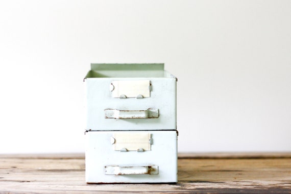 RESERVED for Michelle Mint Green Vintage Industrial Metal File Drawers, Set of Two