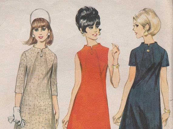 Vintage Dress Pattern 1960s A-Line Shift Dress, McCall's 8865, Size 18 Bust 38, 1967 Sewing Pattern