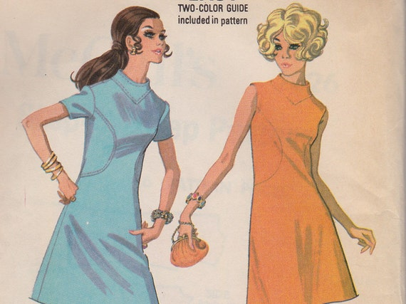 Vintage Dress Pattern 1960s A-Line Shift Dress, McCall's 2226, Size 14 Bust 36, 1969 Sewing Pattern