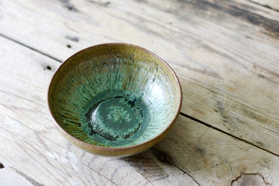 Vintage Pottery Bowl from A.R. Cole Pottery of Sanford, NC, Green Glaze