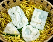 natural handmade soap 4 bars Aloe and Olive, Goat milk and Shea Butter with Fir Needle oil, natural flowers