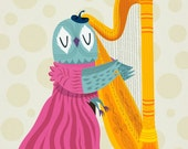 iOTA iLLUSTRATION - The Owl Harpist - Animal Art Limited Edition Print