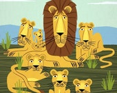 The Laid Back Lions - Animal Wall Art - Children's Decor - Limited Edition Print by Oliver Lake