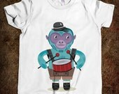 The Monkey Drummer - Kids / Childrens / Youth - T-shirt / Tee  - iOTA iLLUSTRATION