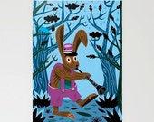 """The Clarinet Bunny - Stationery Cards / Set of 3 Folded Cards (5"""" x 7"""")"""