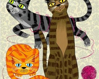iOTA iLLUSTRATION - Three Cool Cats - Animal Art illustration - Limited Edition Print
