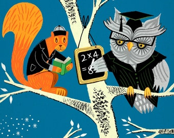 Woodland Arithmetic - Children's Animal Art - Owl and Squirrel Print by Oliver Lake - iOTA iLLUSTRATION