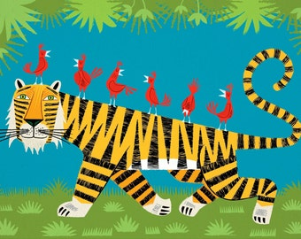 iOTA iLLUSTRATION - Tiger Transportation - Childrens Art - Animal Art -  Kids Art - Limited Edition Art Poster Print by Oliver Lake