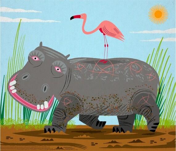 The Hippo and The Flamingo - Children's Animal Art - Nursery Decor - Ltd Edition - Art Poster Print - iOTA iLLUSTRATION