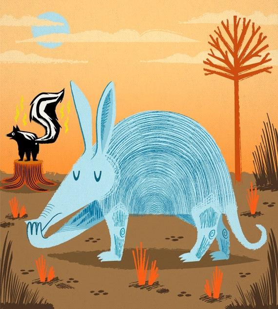 iOTA iLLUSTRATION - The Aardvark and The Skunk - Limited Edition - Animal Art illustration Print