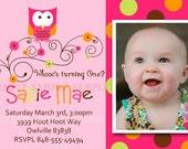 OWL BIRTHDAY INVITATION Custom for your birthday party or baby shower invite. Photo/no photo option