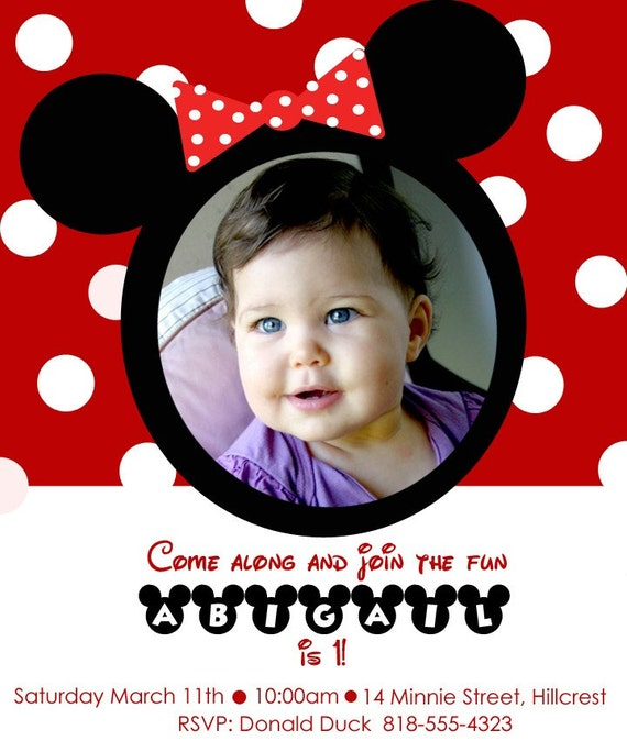 Custom Mickey OR Minnie Mouse Clubhouse Birthday Party Invitation. See Mickey or Minnie Option. Personalized