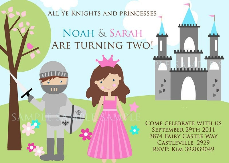 KNIGHT And PRINCESS Invitation Prince Princess Invitation – Princess and Knight Party Invitations