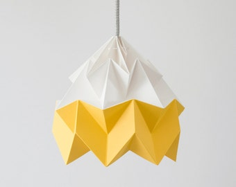 Moth origami lampshade gold yellow and white
