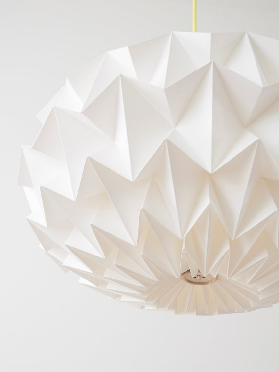 RESERVED for le cook Signature white paper origami lampshade - size XL - hanging