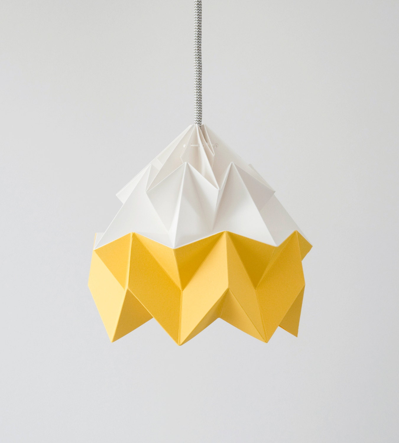 moth origami lampshade gold yellow and white. Black Bedroom Furniture Sets. Home Design Ideas