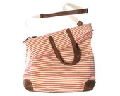 Workhorse bag in bright coral striped cotton/linen fabric with leather trim