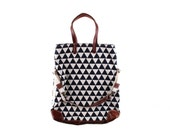 Workhorse bag in dark navy cat claw print cotton/linen fabric with leather trim
