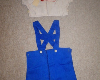 Cute Vintage Set for Toddler Boy - Blue shorts with braces and beige shirt