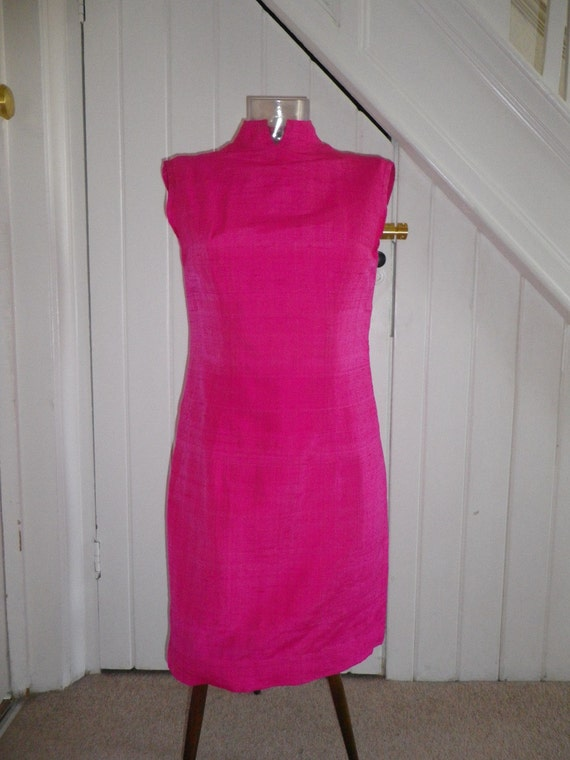 60s Hot Pink Dress made from real Silk