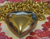 Gold Puffy Heart Necklace