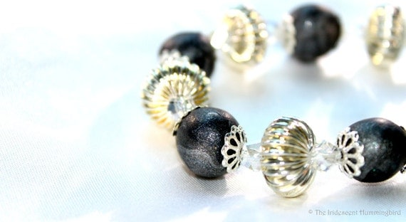 Dark Romance: Marbleized Iridescent Beads, Helix Crystals, Bright Silver Clasp-Free Bracelet / The Black & White Collection