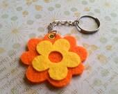 ORANGE & YELLOW FLOWER Felt Keychain