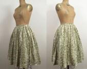 1950s Cotton Skirt / 50s Floral Skirt